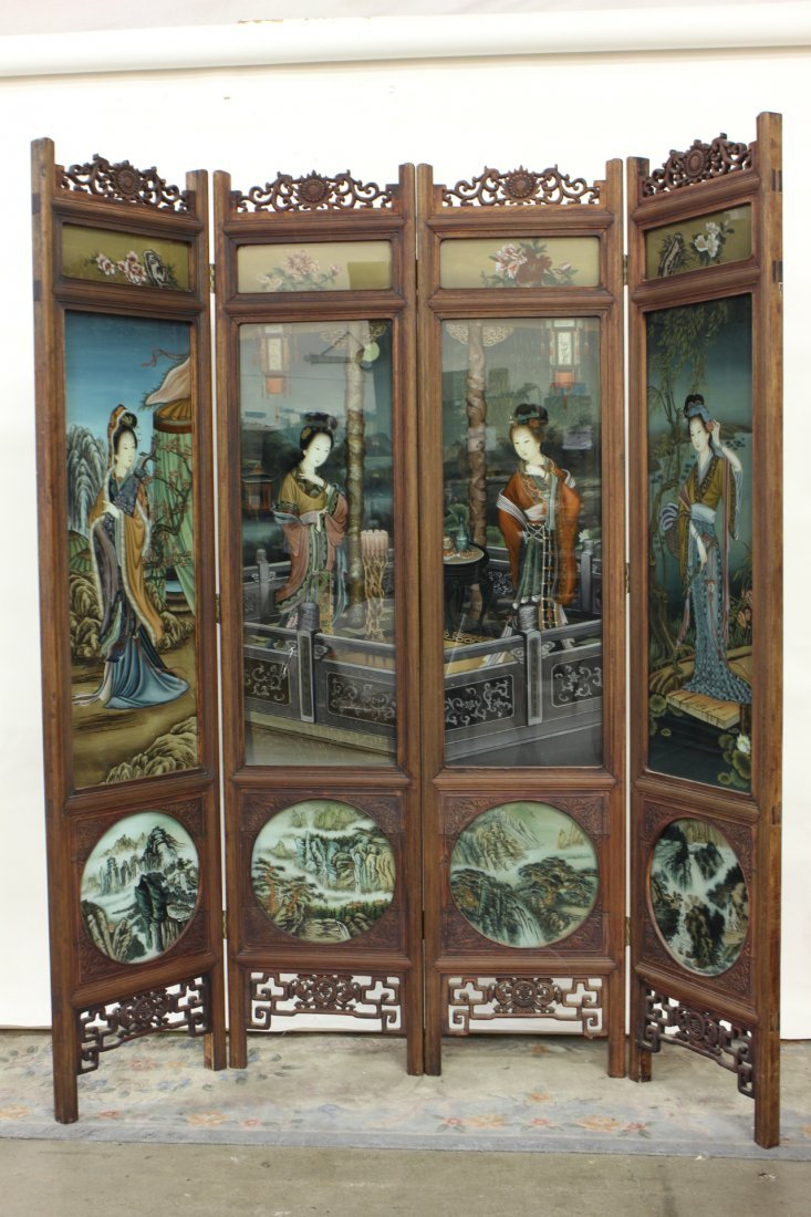 282: Chinese 4 panel reverse painting on glass screen