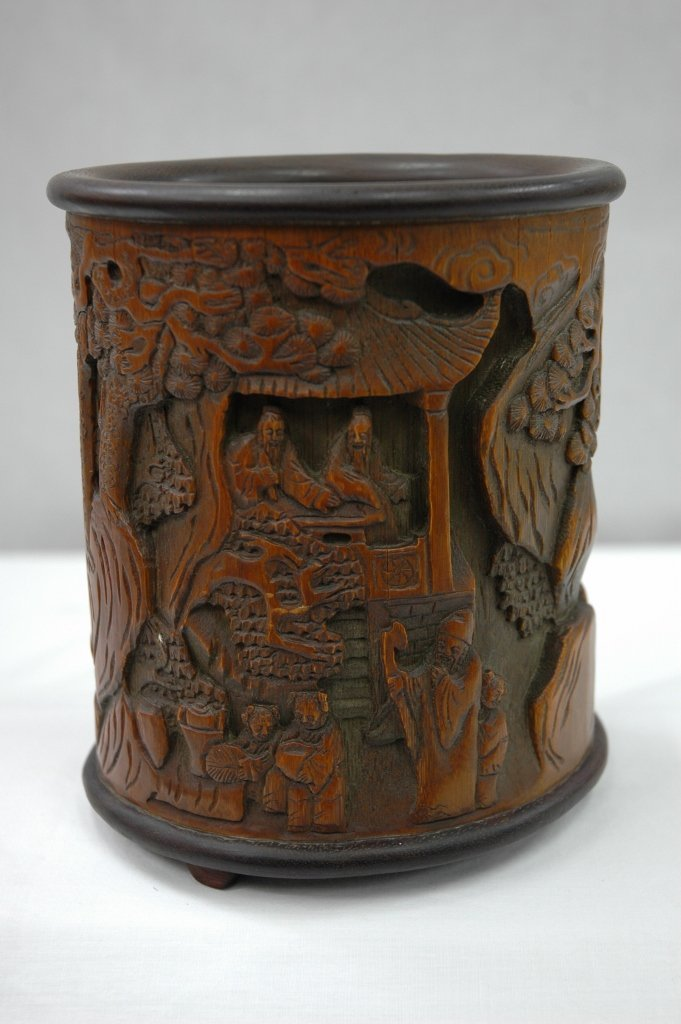 102: Bamboo carved brush pot