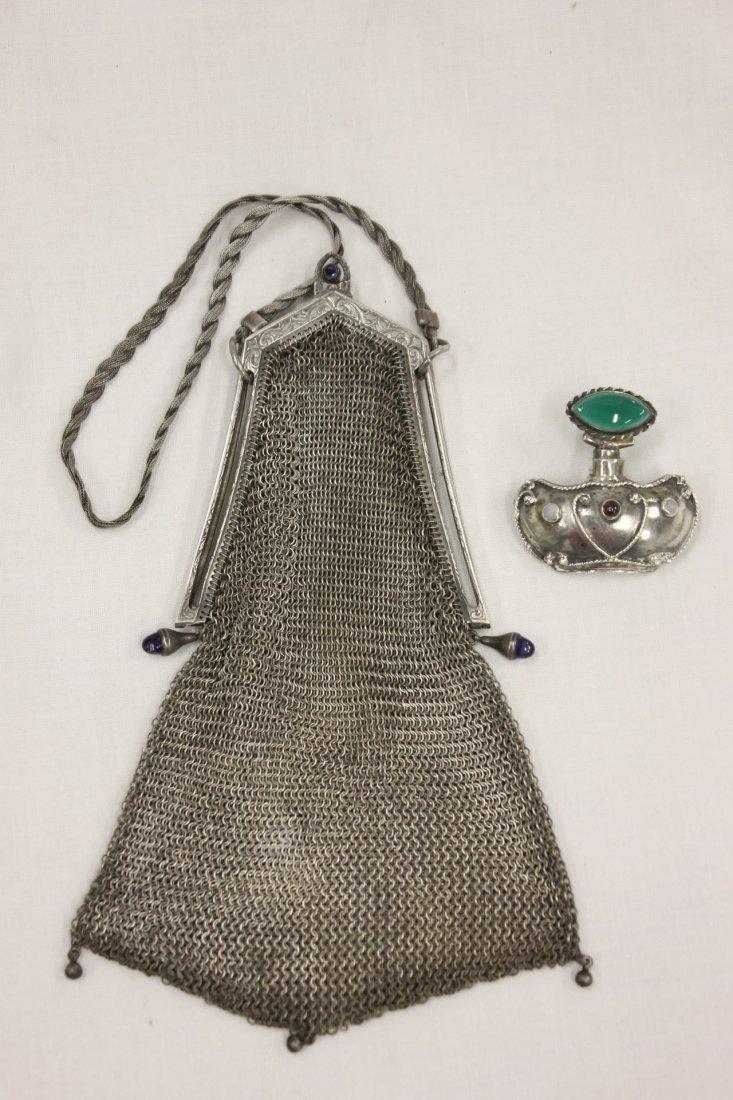 106: sterling scent bottle, & a Victorian mesh bag