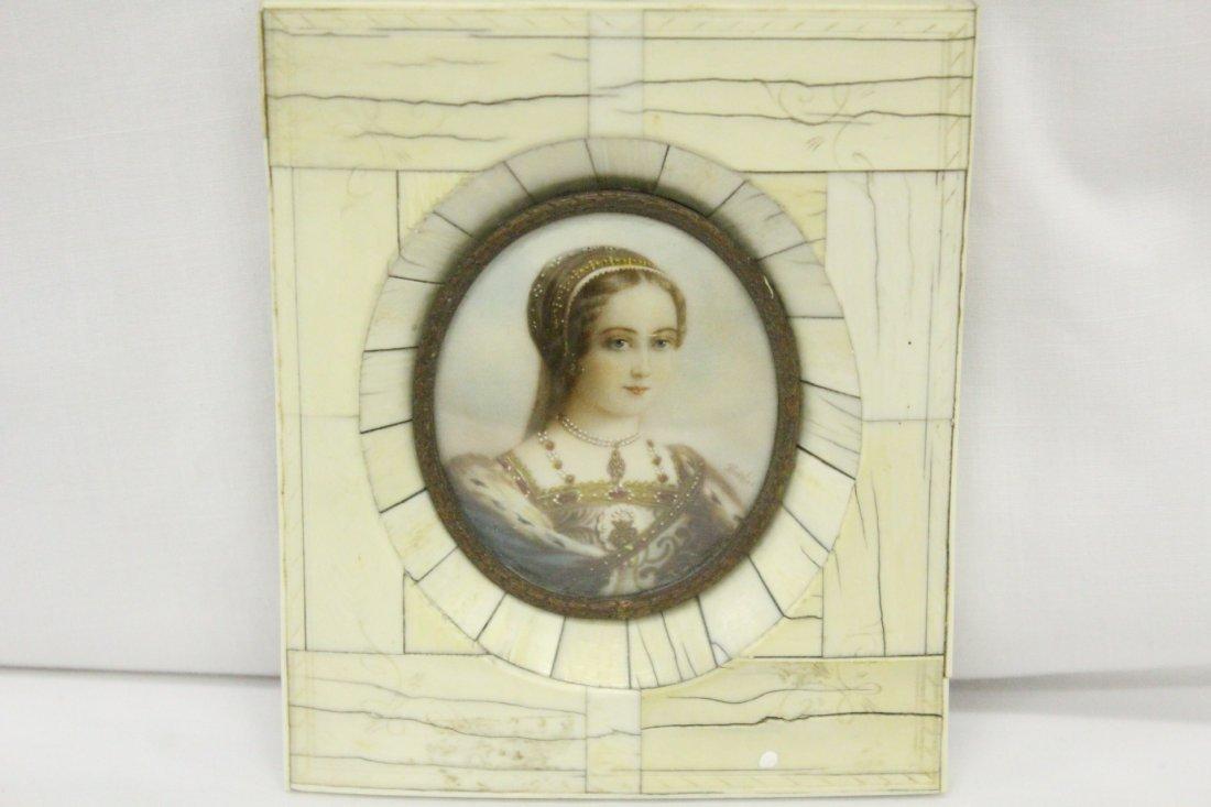 109: signed miniature painting on ivory w/ ivory frame