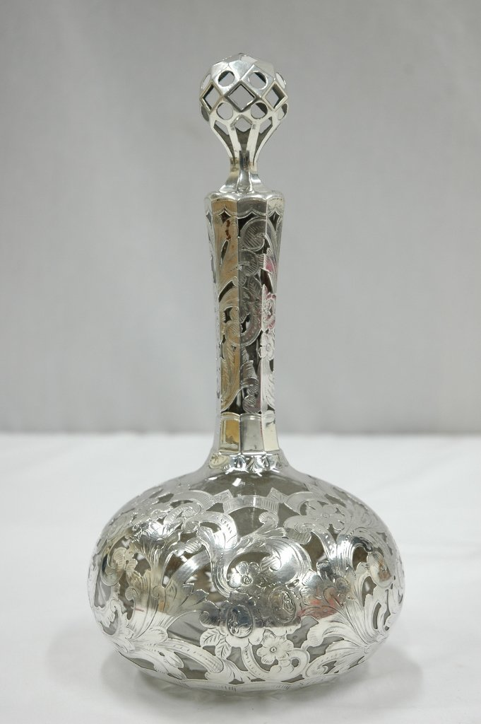 110: wine decanter w/ sterling overlay