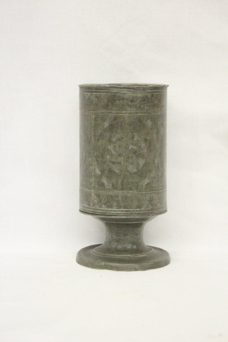 113: 18th century pewter tea caddy