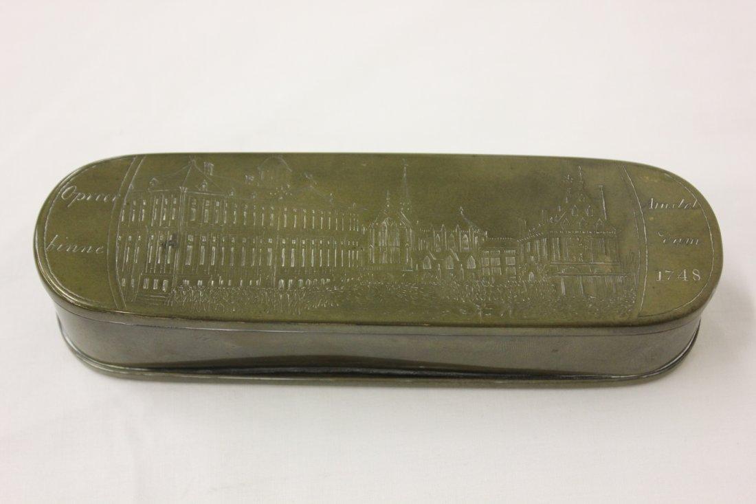 115: brass tobacco box dated 1748