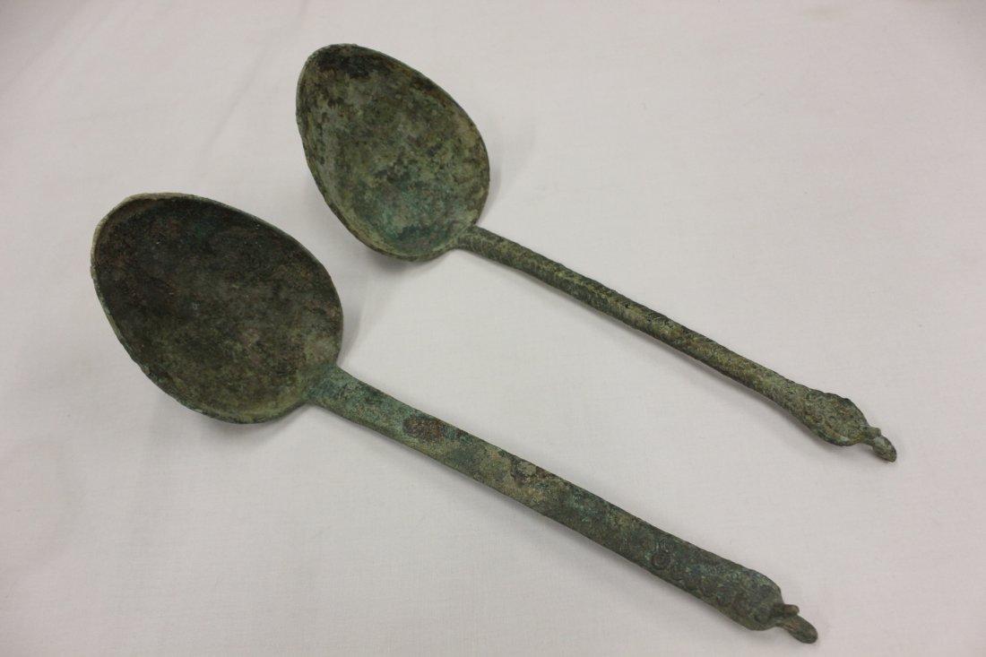 117: 2 antique Luristan/Roman bronze ladles
