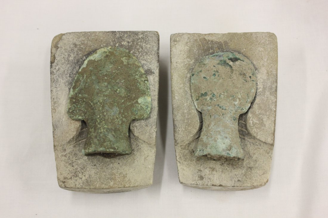 118: 2 antique Luristan/Roman bronze spear heads