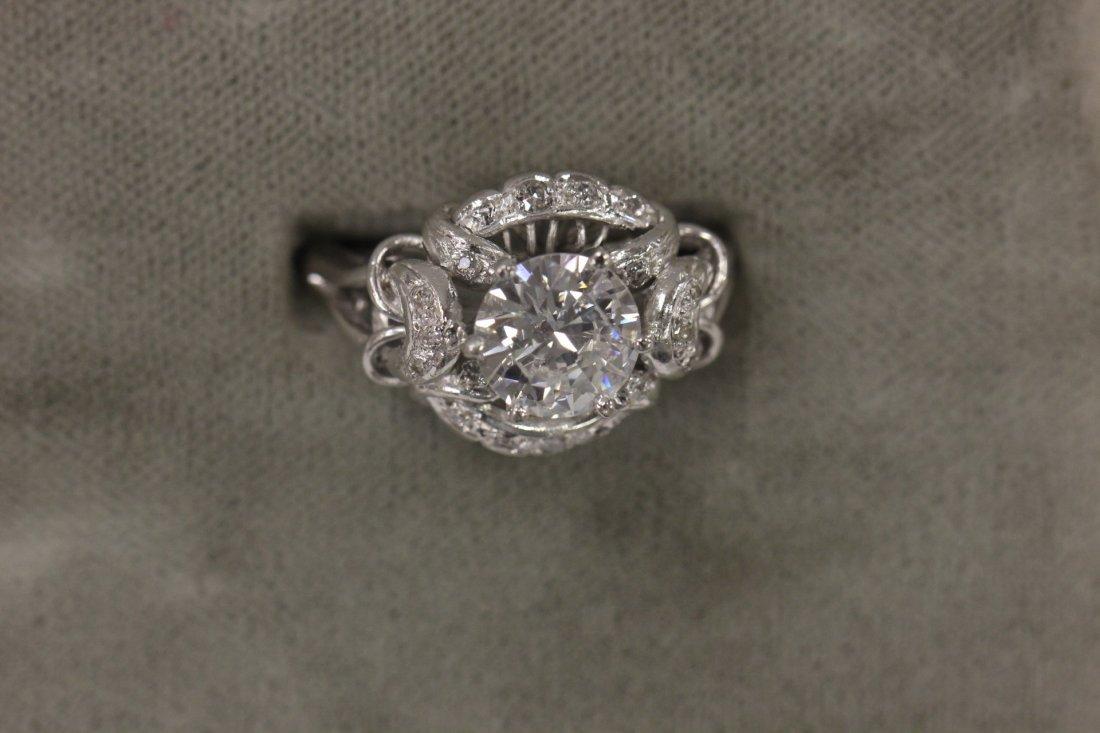 249: 14K W/G retro lady's diamond ring