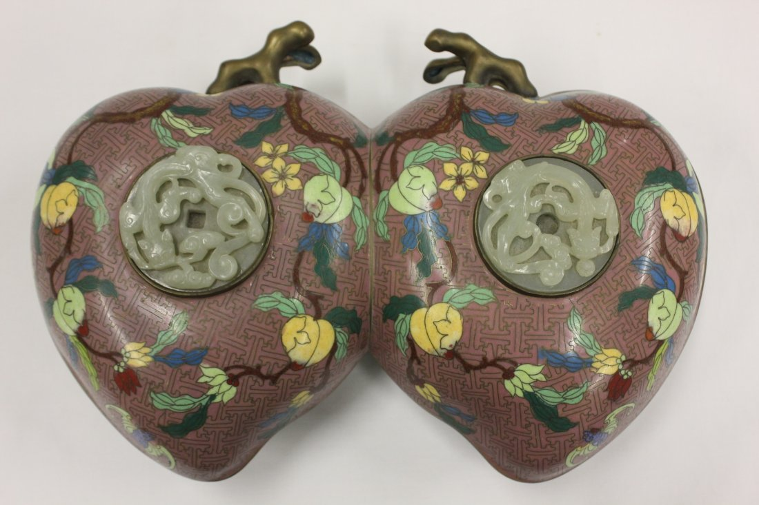 278: Chinese antique cloisonne candy box w/ white jade