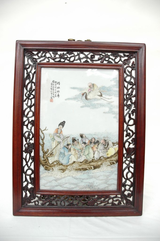 297: Chinese hand painted plaque of 8 immortals