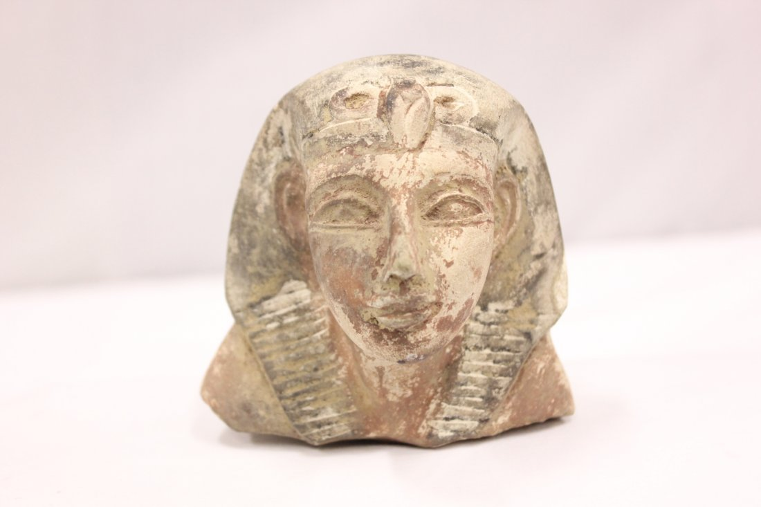 120A: Antique Egyptian clay goddess head
