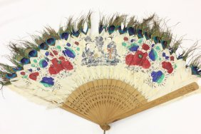 101: 19th century painted peacock feather fan