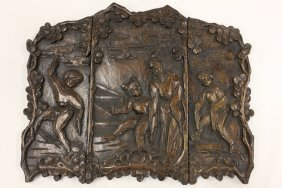 102: Chinese wood carved scholar table screen