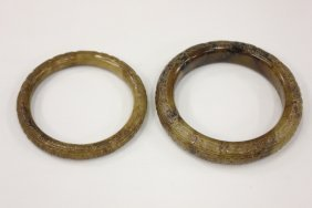 2 Chinese Jade Carved Bangle Bracelets