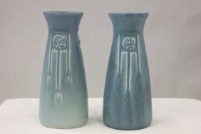 112: Pair Rookwood arts and crafts pottery vases