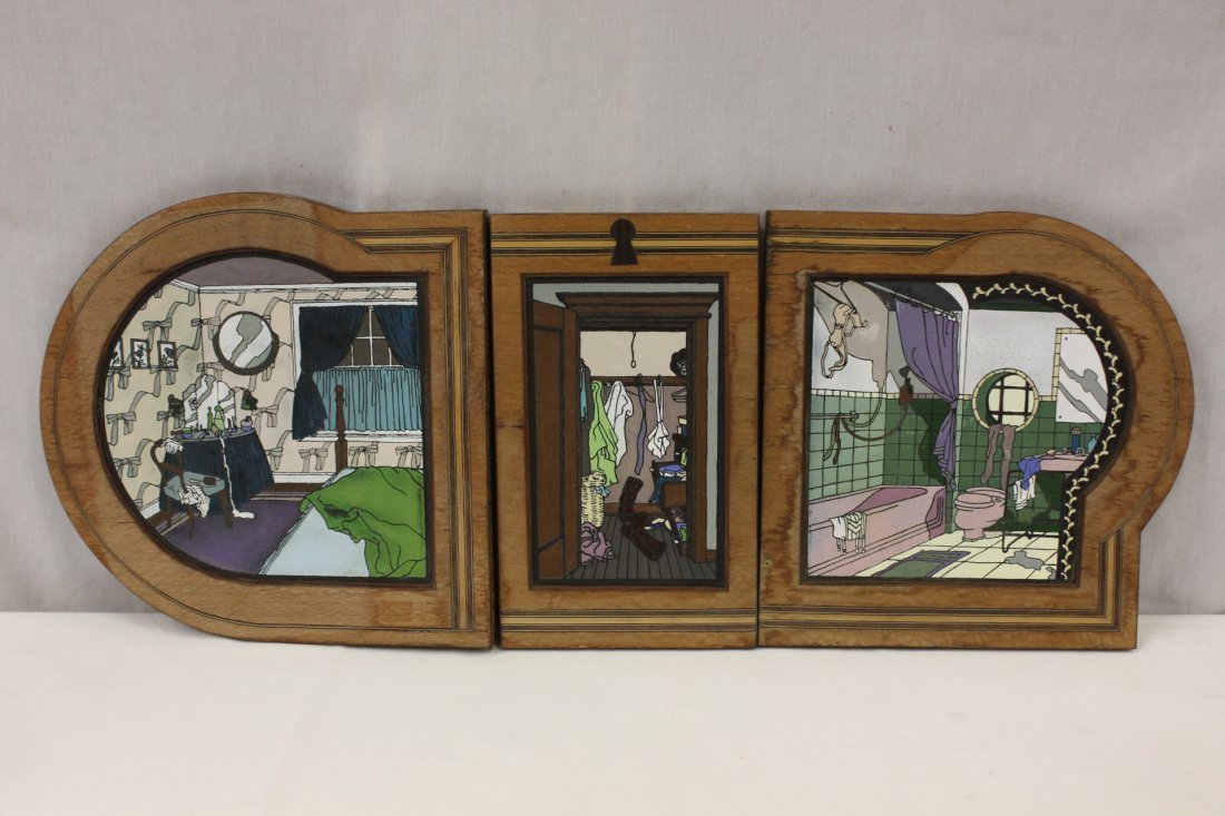 114: 3pc French framed tile wall hanging