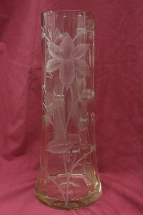 120: Moser engraved and cut art glass vase