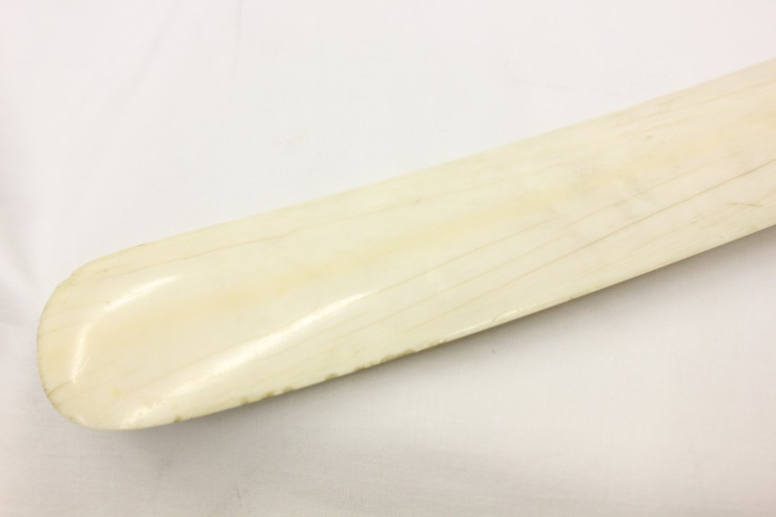 203: A rare large walrus ivory carved shoe horn - 10