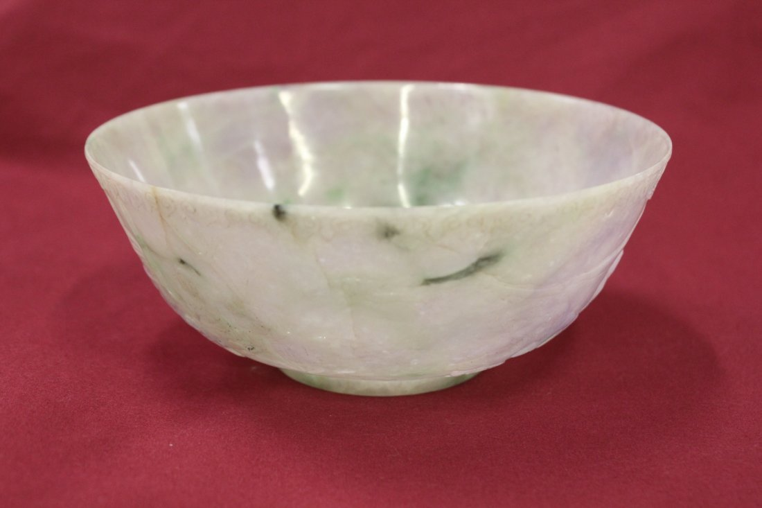 258: important Chinese green and lavender jadeite bowl