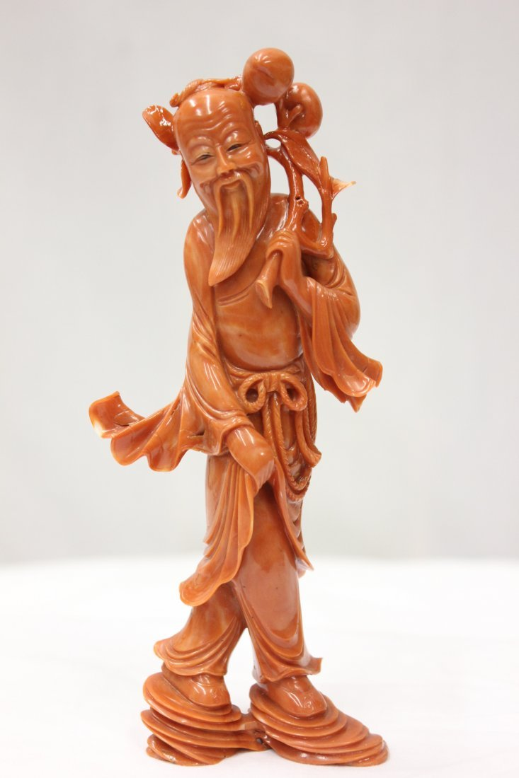 264: important Chinese coral carved god of longevity