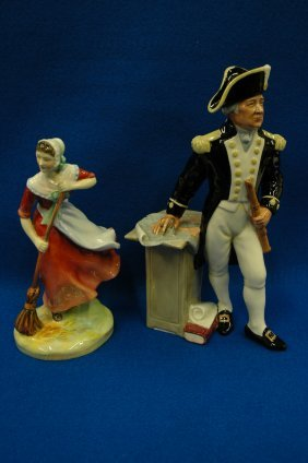 "2 Royal Doulton figurines ""Autumn"" and ""Captain"""