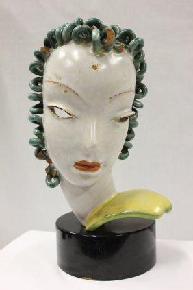 Austrian terracotta sculpture, woman's head