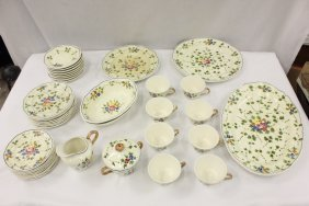 Set of hand painted French Fiance china set
