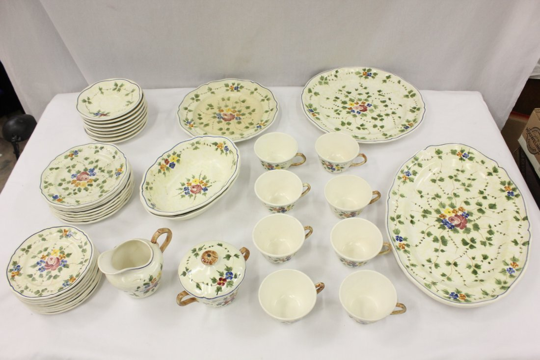 Set of hand painted French Fiance china set