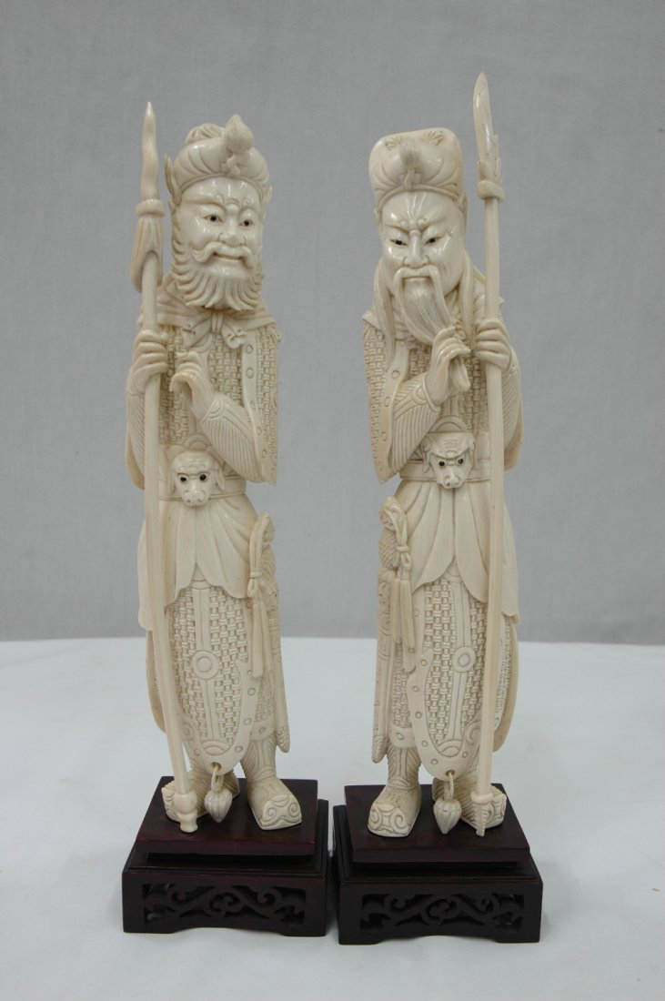 Pair Chinese ivory carved warriors