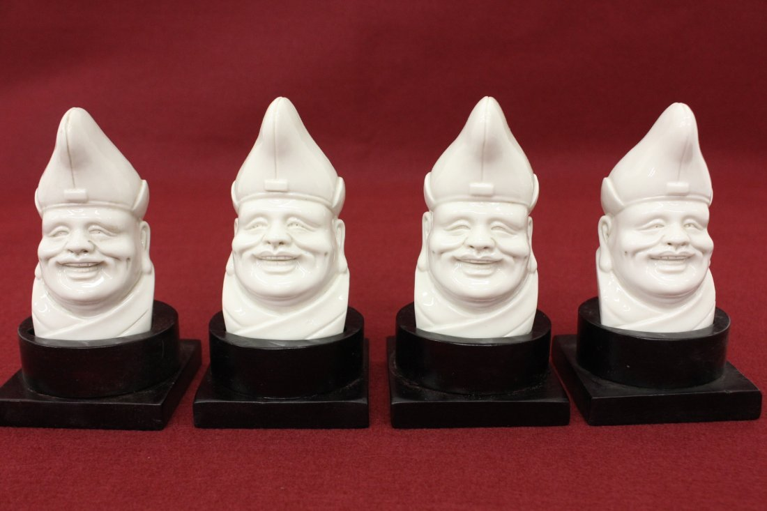 Chinese export white porcelain monk's heads