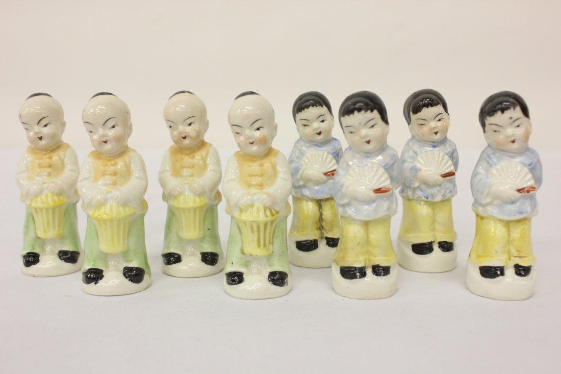 4 pr Japanese porcelain salt and pepper shakers