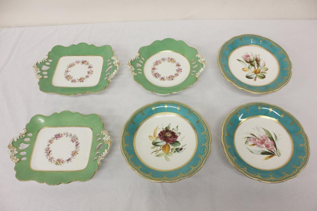 6 antique Paris footed porcelain plates