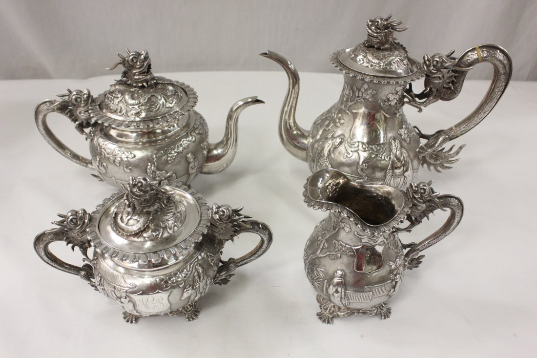 Chinese export silver tea/coffee set by Kwong Man Shing