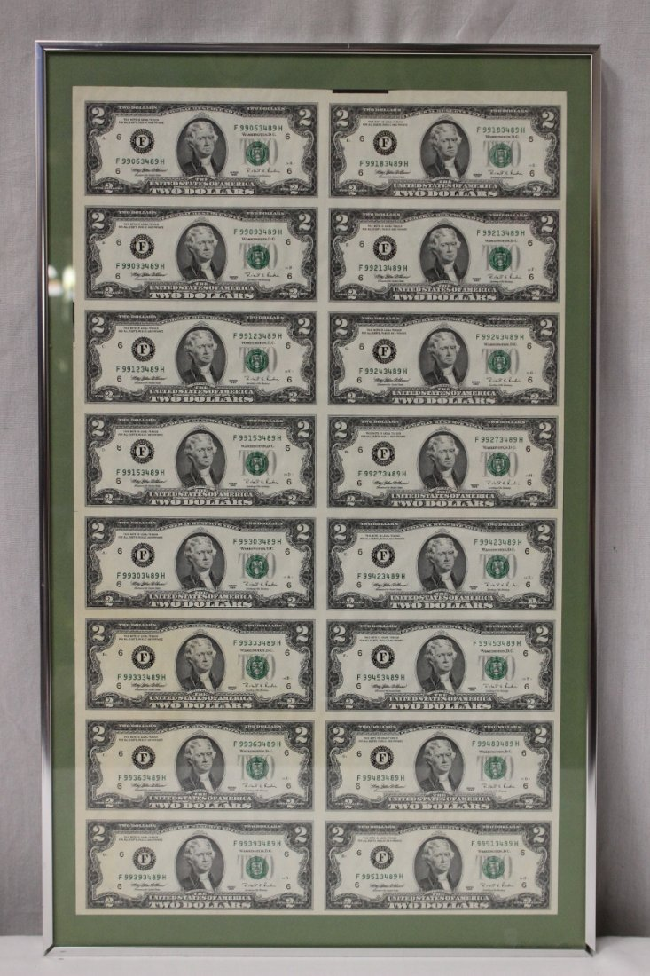 Framed sheet of 16 $2 bills