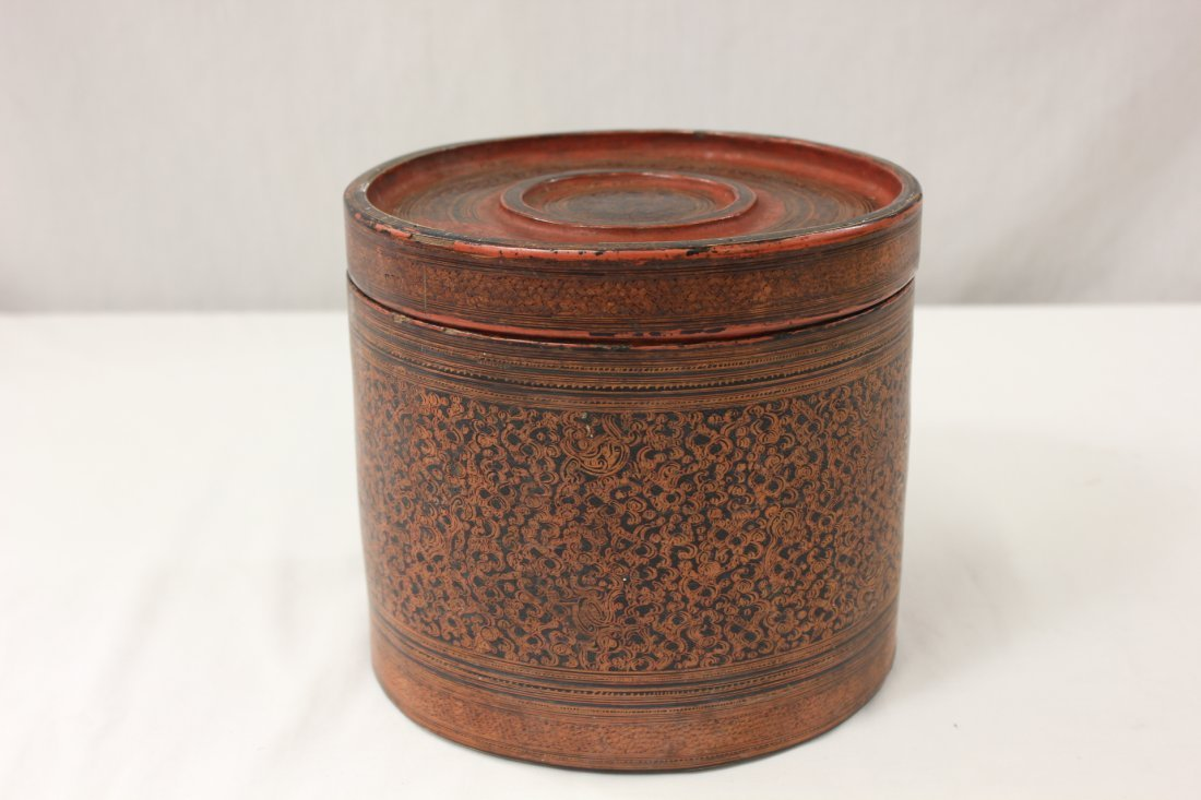 19th century antique Thailand lacquer hat box