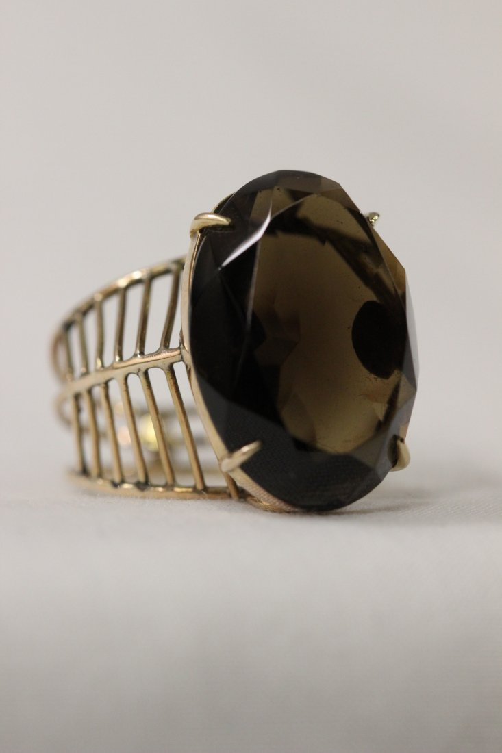 Victorian 14K fancy pink gold ring with smoky quartz