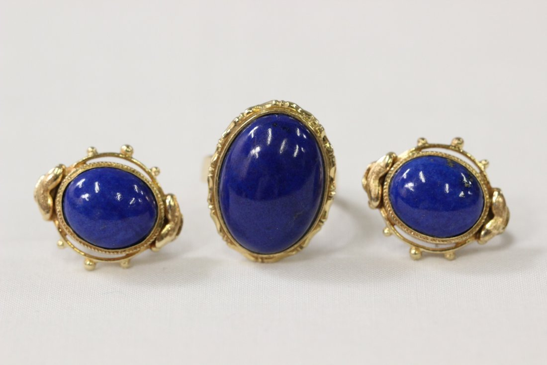 14K Y/G lapis ring with pair matching earrings