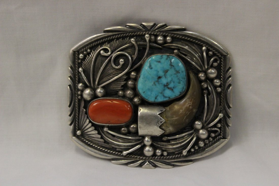 Sterling silver belt buckle set w/coral and turquoise