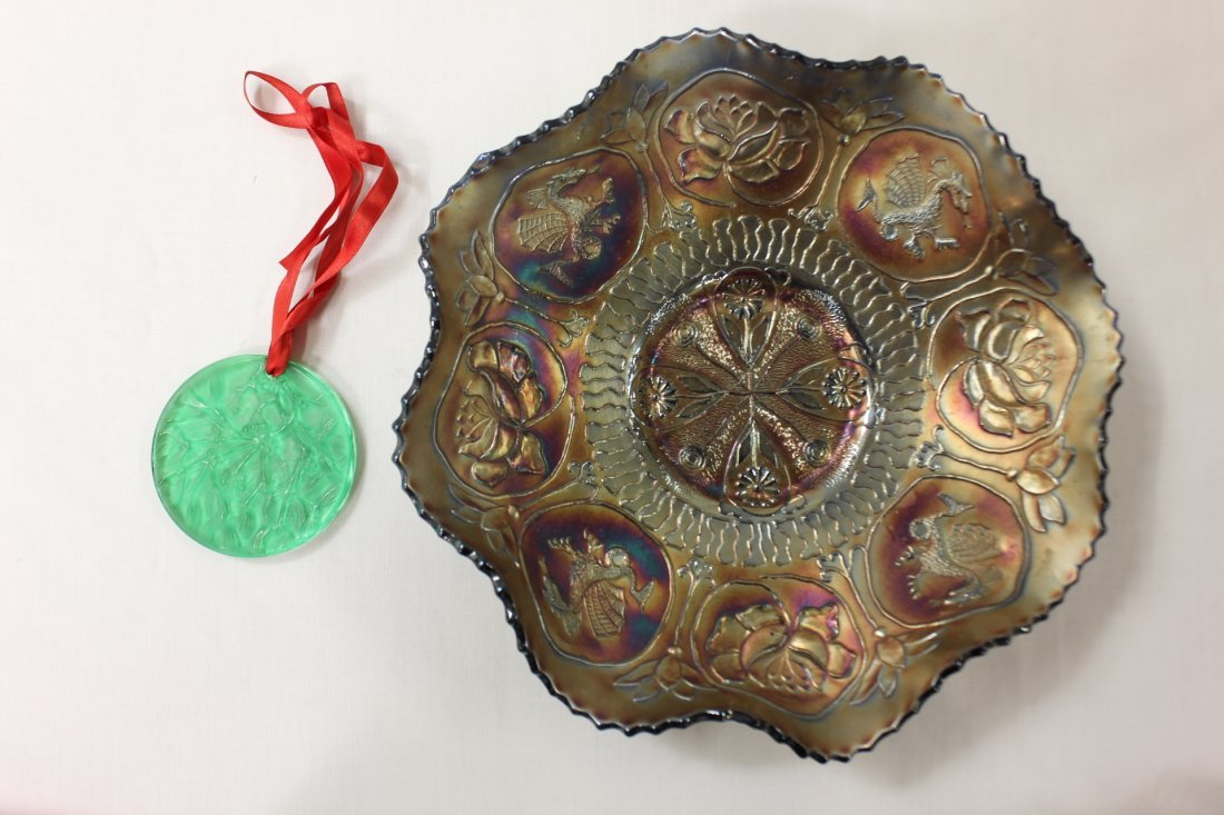 Vintage carnival glass bowl & an ornament by Lalique