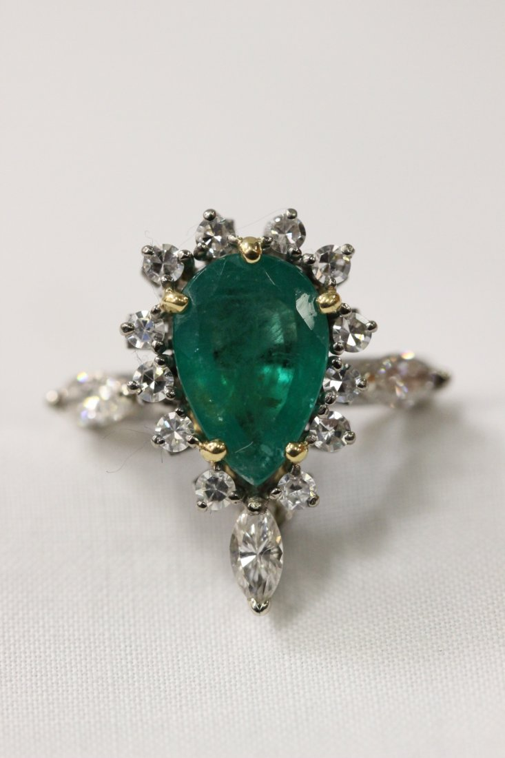14K W/G emerald diamond ring