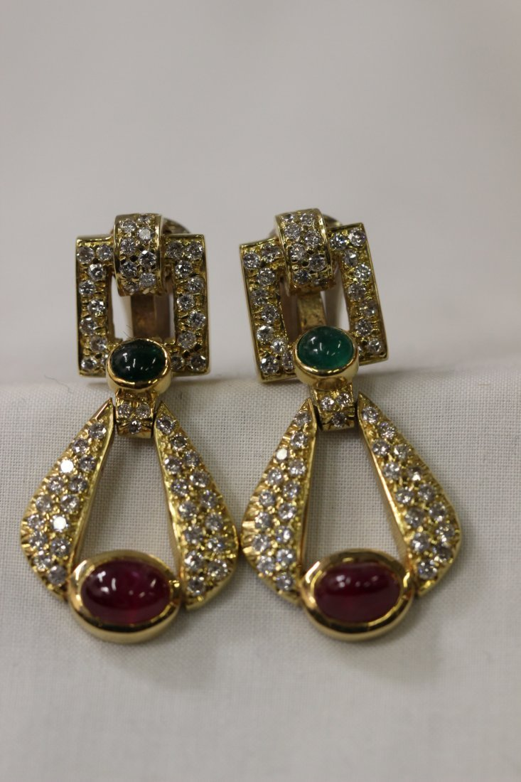 Pr 18K ruby, emerald & diamond earrings by David Webb