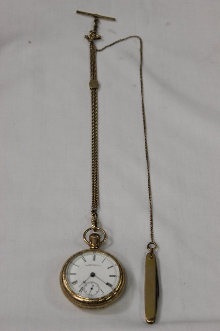 Waltham pocket watch w/ fob, & pocket knife with chain