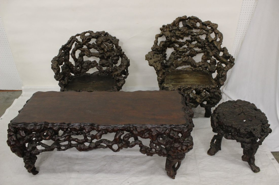 4 piece Chinese 18th century root furniture