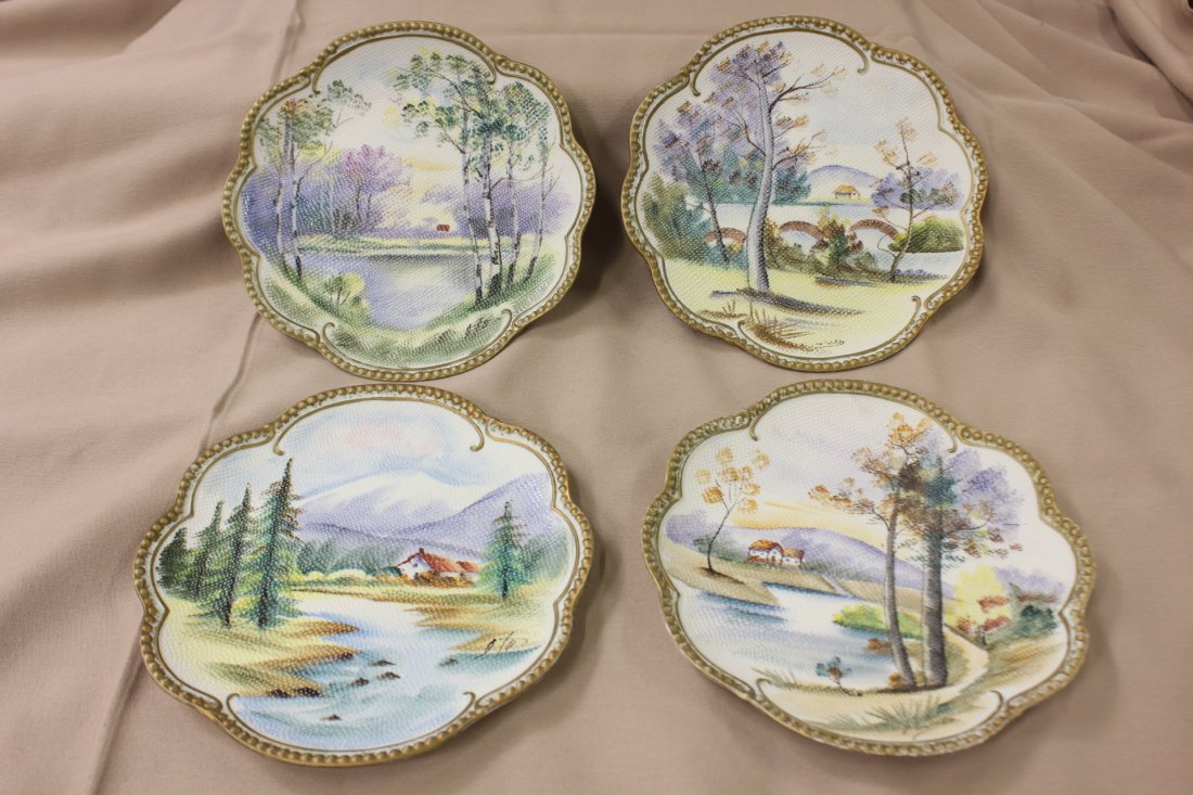 4 Japanese hand painted plates