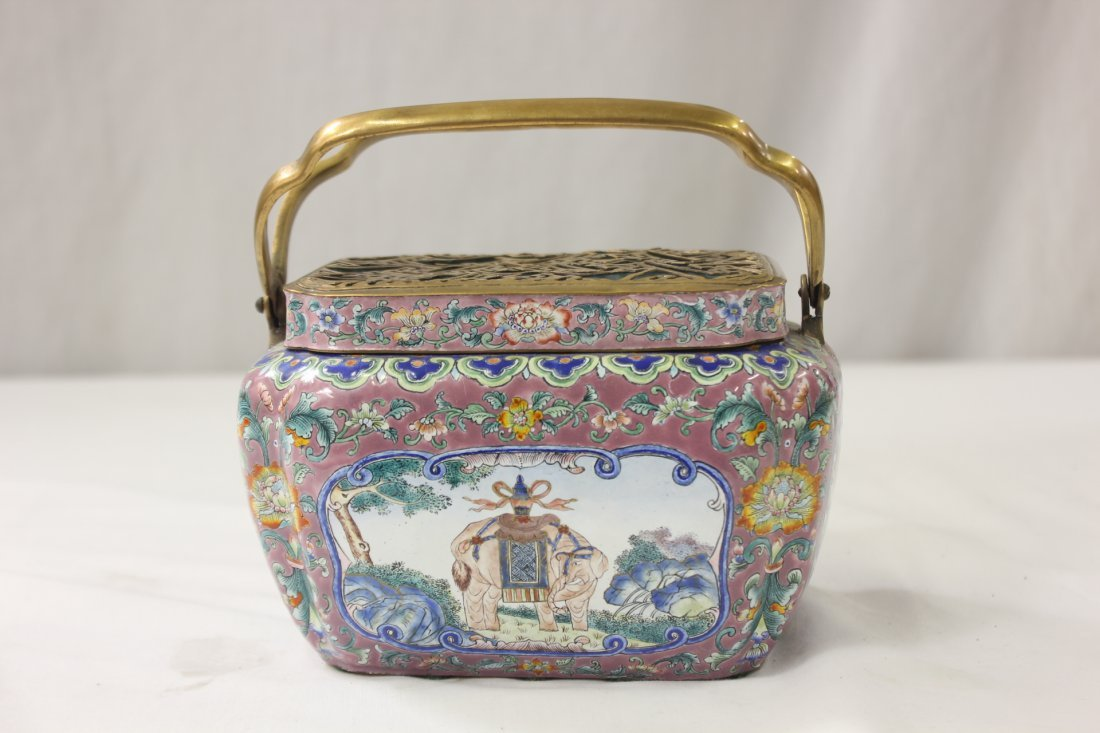 Chinese antique enamel hand warmer/cricket box