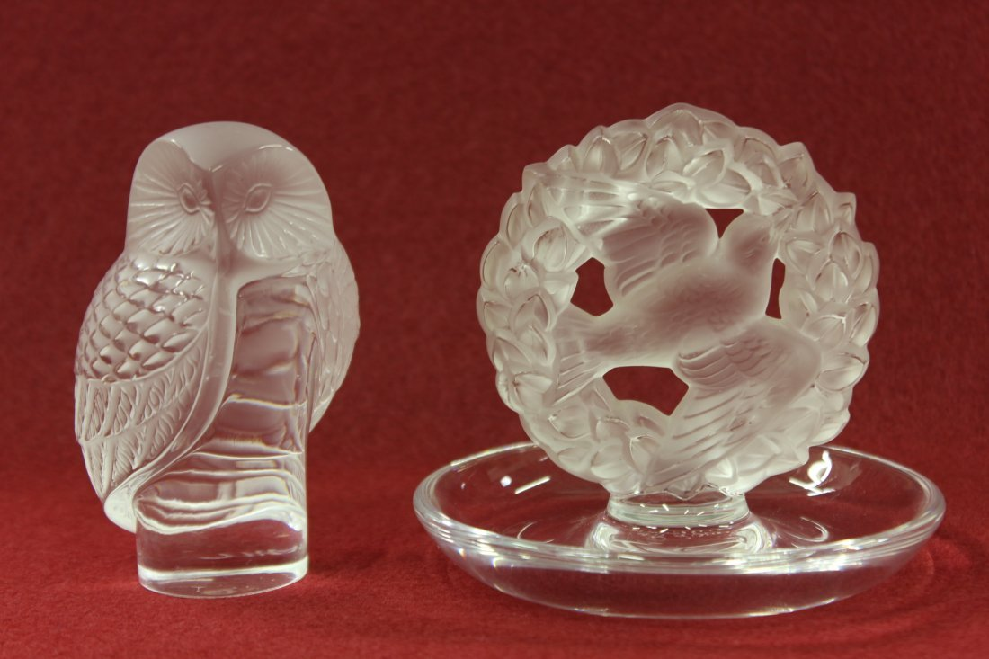 Lalique crystal ring caddy and Lalique crystal owl