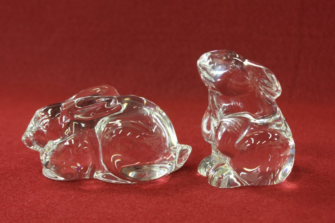 2 crystal rabbits by Baccarat