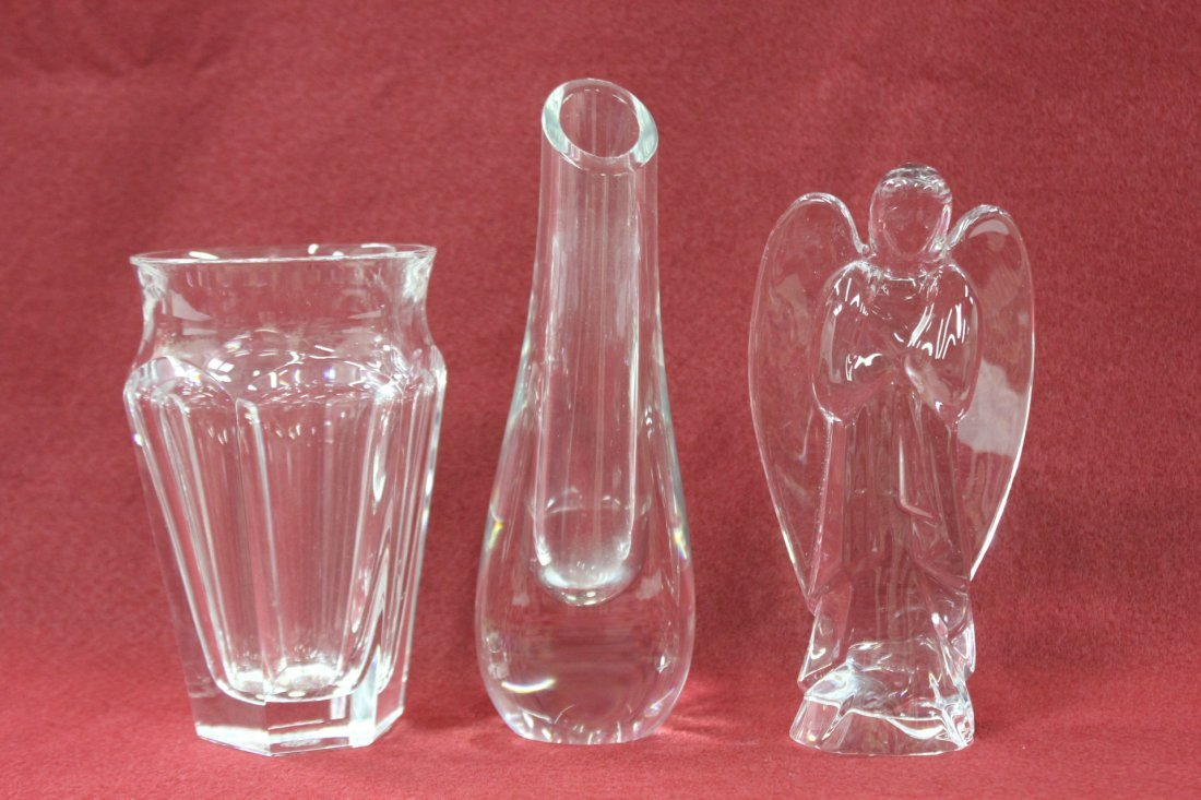 2 crystal flower vase and crystal angel by Baccarat