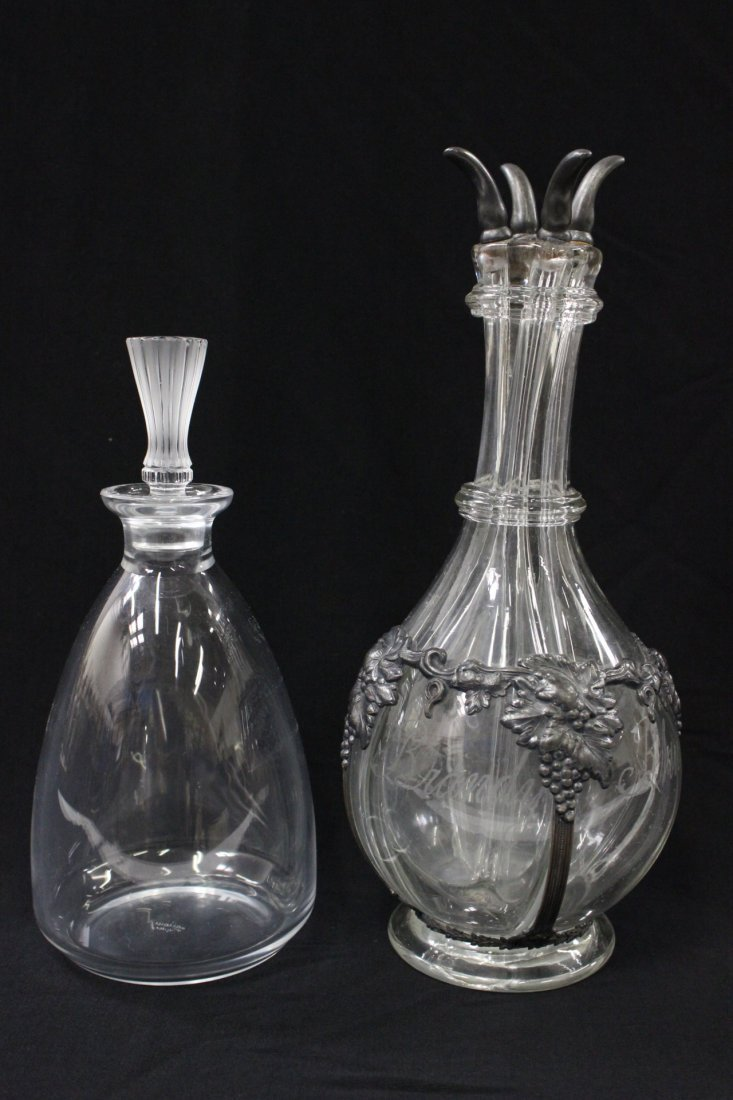 Lalique Crystal decanter, & French antique decanter