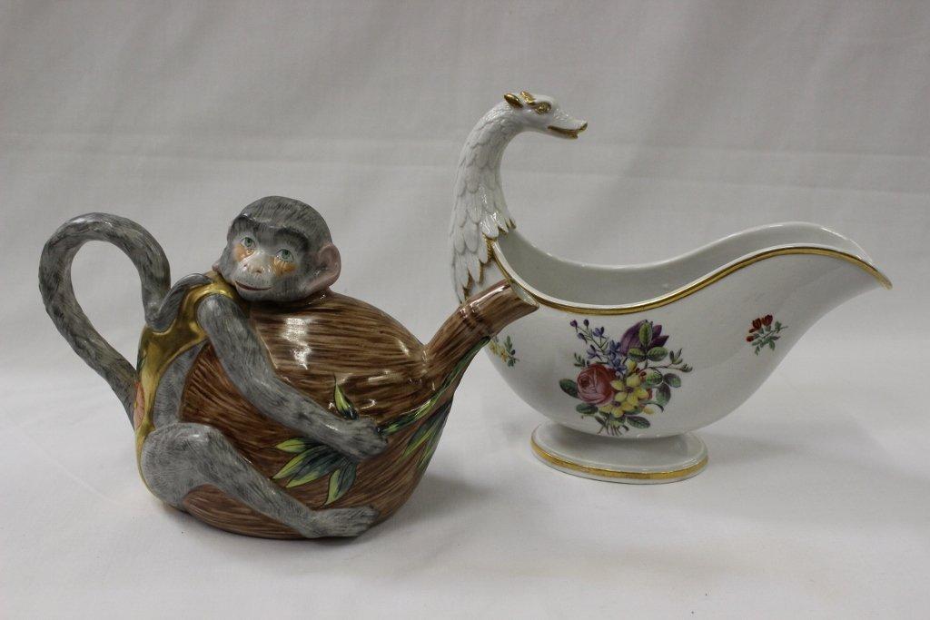Antique porcelain creamer, & a Paris porcelain teapot