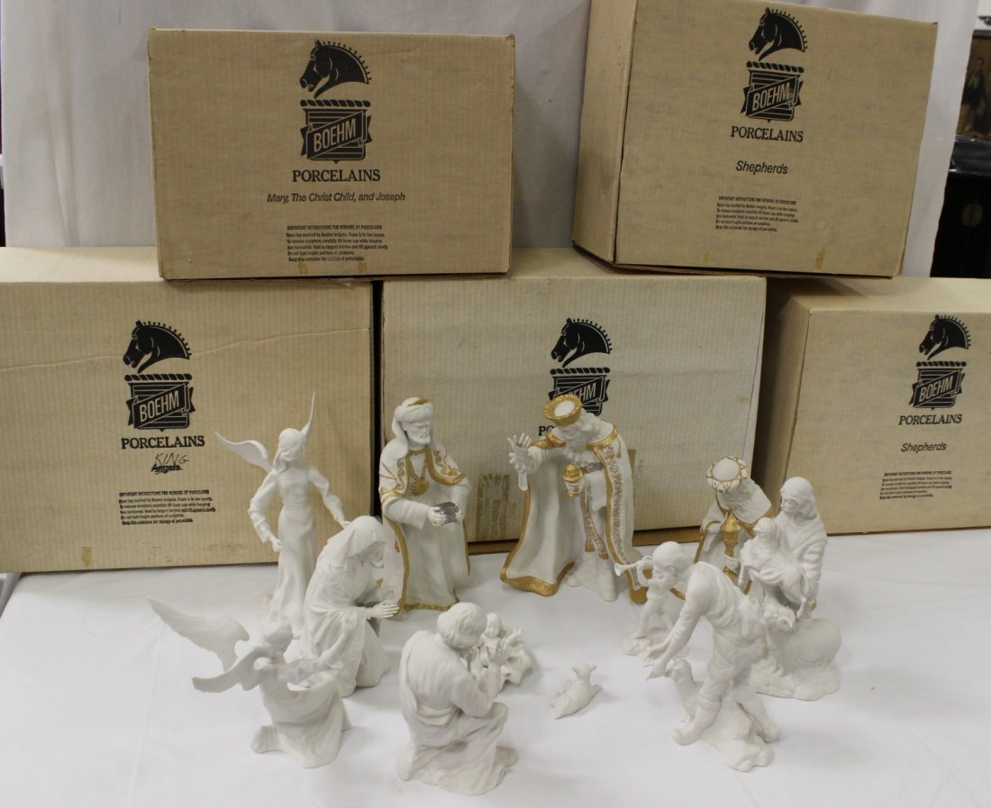 11pc bisque nativity set by Boehm with original boxes