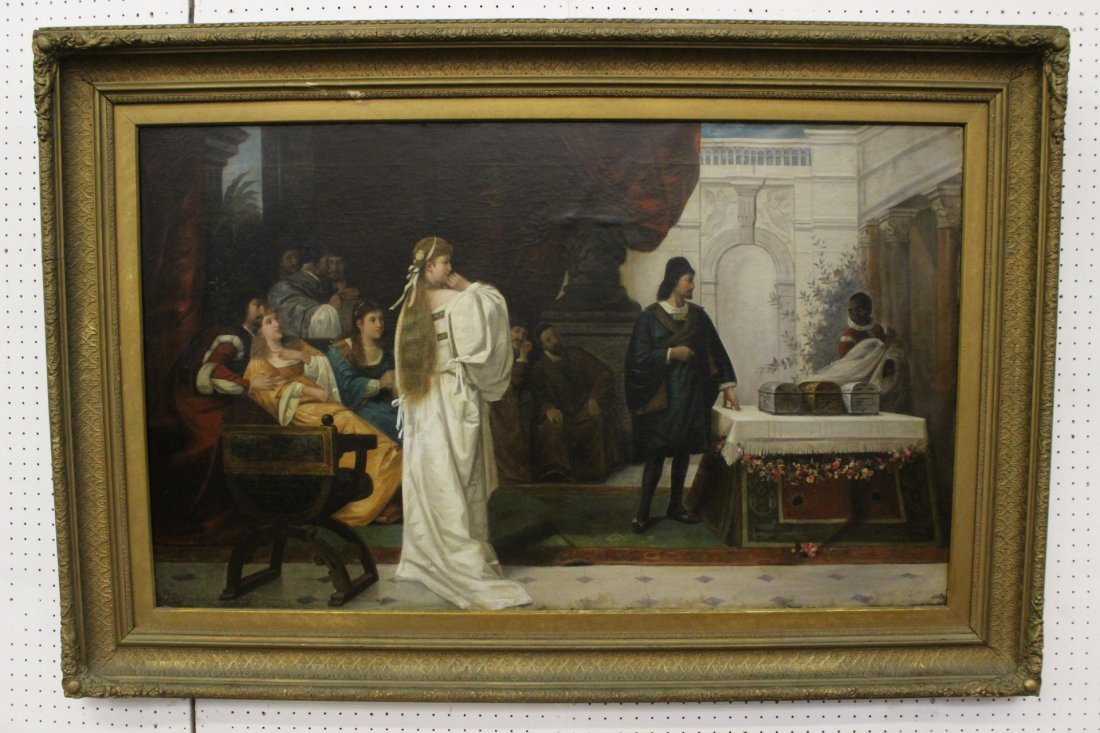 A magnificent early 19th c. o/c depicting court scene
